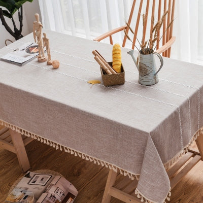 Japanese Coffee Plaid Lattice Cotton Linen Tablecloth Japan Dining Room Tableware Home Decor Accessories Style Design B