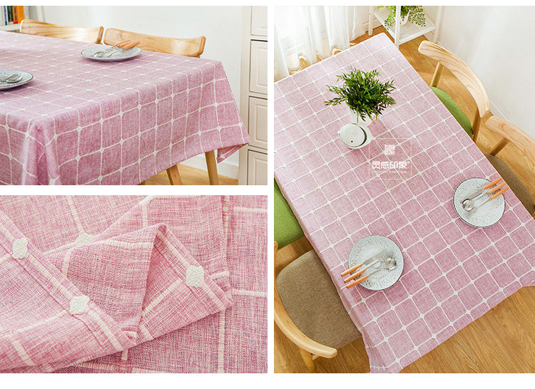 Japanese Pink Plaid Lattice Cotton Linen Tablecloth Japan Dining Room Tableware Home Decor Accessories Style Design A