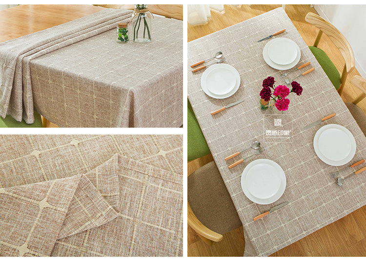Japanese Coffee Plaid Lattice Cotton Linen Tablecloth Japan Dining Room Tableware Home Decor Accessories Style Design J