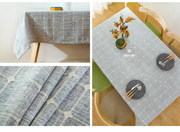 Japanese Grey Plaid Lattice Cotton Linen Tablecloth Japan Gray Dining Room Tableware Home Decor Accessories Style Design C