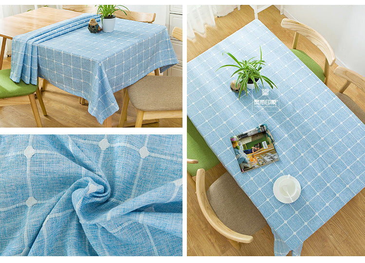 Japanese Blue Plaid Lattice Cotton Linen Tablecloth Japan Dining Room Tableware Home Decor Accessories Style Design G