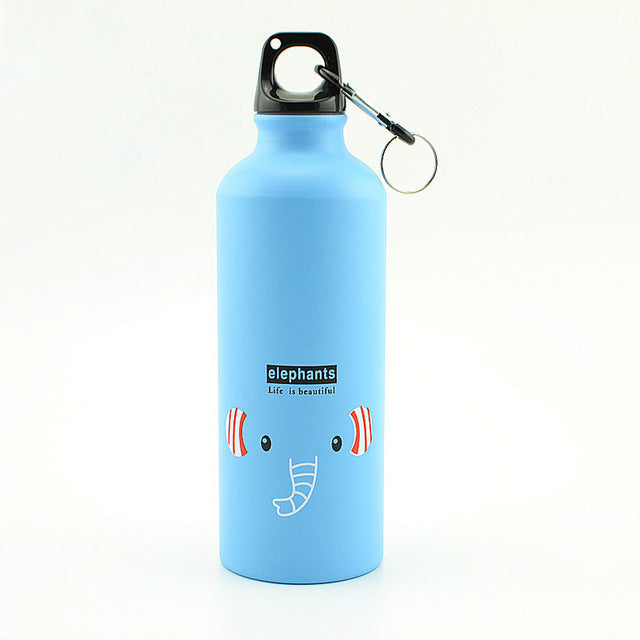 Blue 500ML Aluminum Sports Bottle Vacuum Thermal Mug Thermos 304 Stainless Steel Thermocup Creative Animals Thermal Bottle Thermos Flask