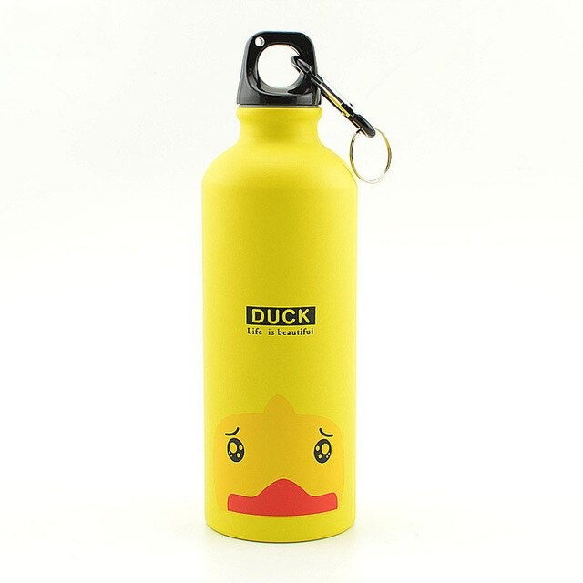 Yellow 500ML Aluminum Sports Bottle Vacuum Thermal Mug Thermos 304 Stainless Steel Thermocup Creative Animals Thermal Bottle Thermos Flask
