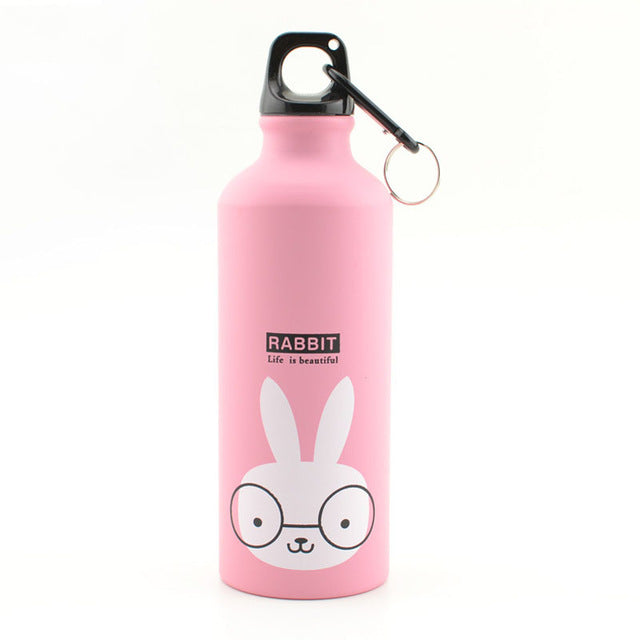 Pink 500ML Aluminum Sports Bottle Vacuum Thermal Mug Thermos 304 Stainless Steel Thermocup Creative Animals Thermal Bottle Thermos Flask