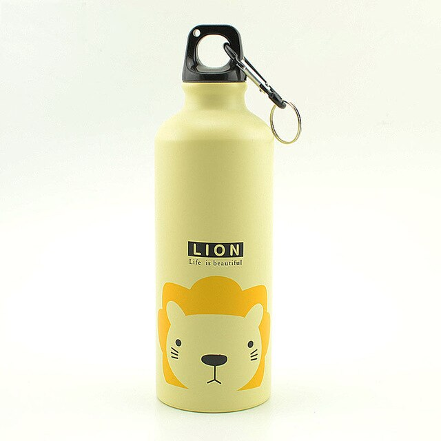 Orange 500ML Aluminum Sports Bottle Vacuum Thermal Mug Thermos 304 Stainless Steel Thermocup Creative Animals Thermal Bottle Thermos Flask