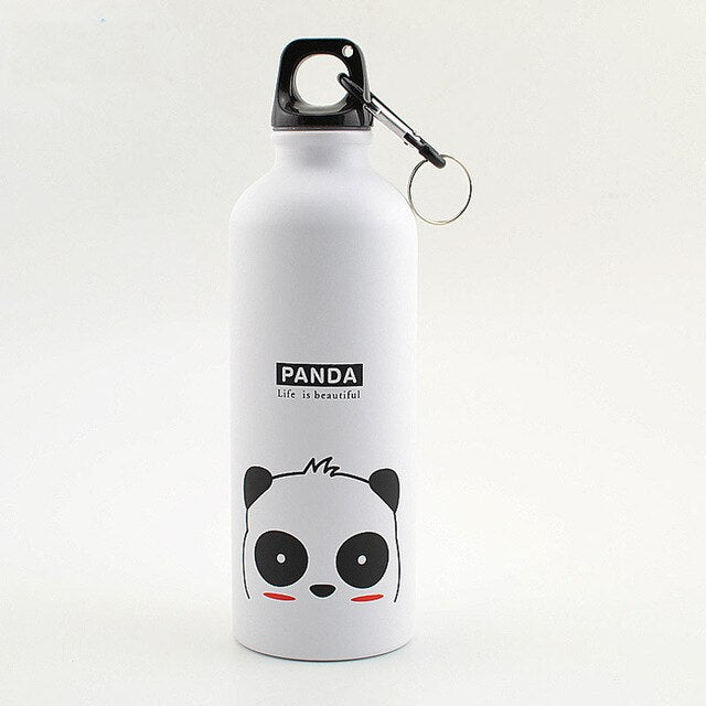 White 500ML Aluminum Sports Bottle Vacuum Thermal Mug Thermos 304 Stainless Steel Thermocup Creative Animals Thermal Bottle Thermos Flask