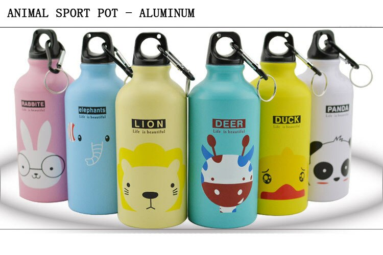 500ML Aluminum Sports Bottle Vacuum Thermal Mug Thermos 304 Stainless Steel Thermocup Creative Animals Thermal Bottle Thermos Flask