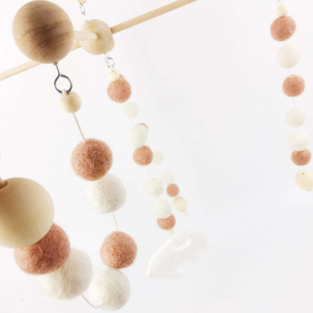 Gender Neutral Wooden Baby Mobiles Babies Room Wood Poomoom Balls Hanging Mobile Style A