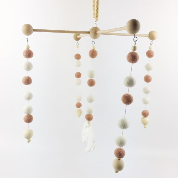 Gender Neutral Wooden Baby Mobiles Babies Room Wood Poomoom Balls Hanging Mobile style