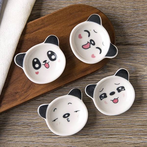 Japan Mini Panda Ceramic Sauce Dish Japanese Dining Condiment Dishes Dinnerware Tableware Accessories