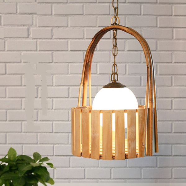Bamboo Pendant Light Japanese rural  Basket Kitchen cafe Creative Crafts Bamboo Lamp Southeast Asia pendant lamps Japan Home Decor Accessories