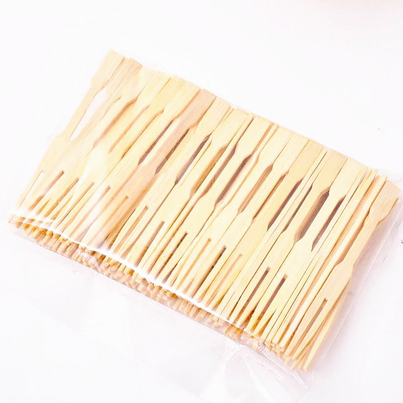 100 Piece Bamboo Disposable Wooden Fruit Forks Bento Accessories Style E