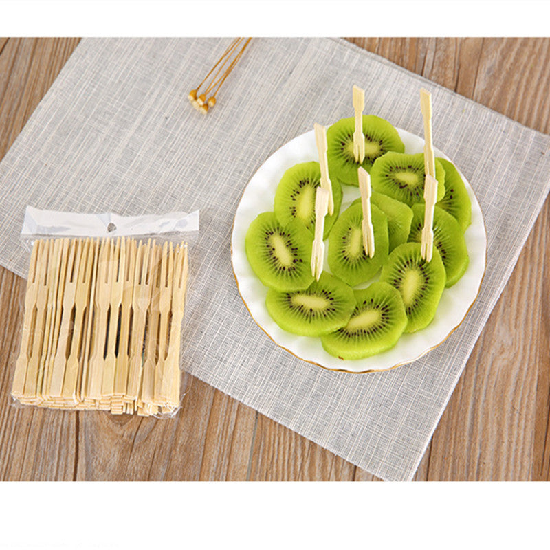 100 Piece Bamboo Disposable Wooden Fruit Forks Bento Accessories Style B