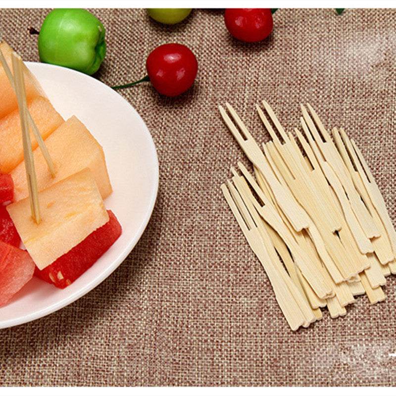 100 Piece Bamboo Disposable Wooden Fruit Forks Bento Accessories Style H