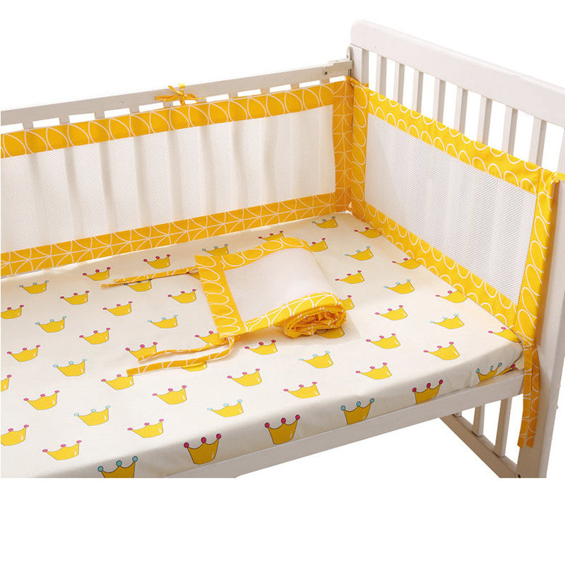Newborn Baby Safety Crib Cot Bumpers Mats Babies Bedroom Yellow Bedding Sets