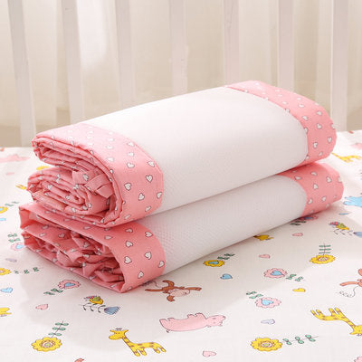 Newborn Baby Pink Safety Crib Cot Bumpers Mats Babies Bedroom Bedding Sets