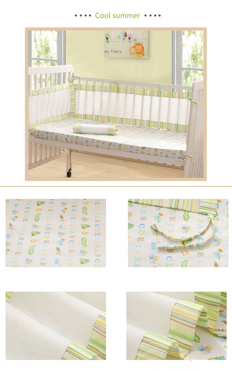 Cool Summer Green  Newborn Baby Safety Crib Cot Bumpers Mats Babies Bedroom Bedding Sets