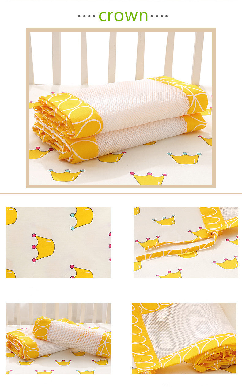 Crown Yellow  Newborn Baby Safety Crib Cot Bumpers Mats Babies Bedroom Bedding Sets