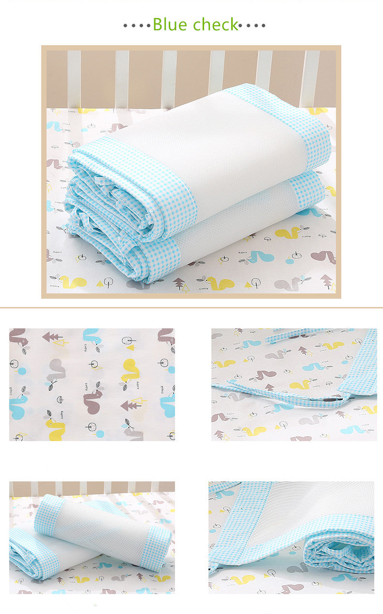 Blue Check Checkered Newborn Baby Safety Crib Cot Bumpers Mats Babies Bedroom Bedding Sets