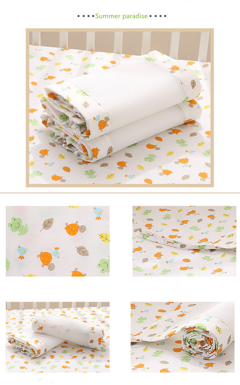 Summer Paradise White  Newborn Baby Safety Crib Cot Bumpers Mats Babies Bedroom Bedding Sets