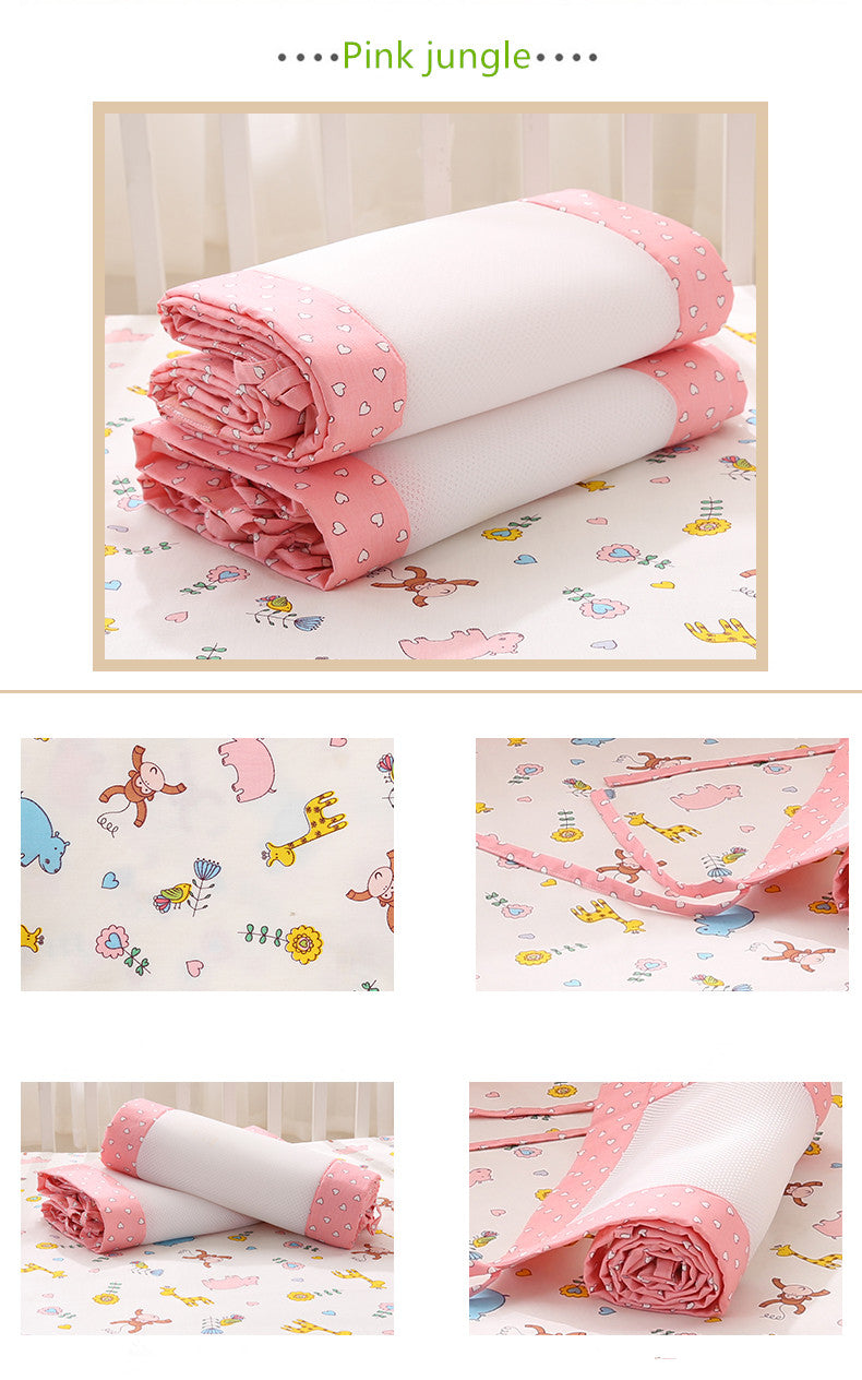Pink Jungle  Newborn Baby Safety Crib Cot Bumpers Mats Babies Bedroom Bedding Sets
