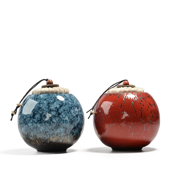 Mini Blue Red Ceramic Tea Caddy Porcelain Chinese Storage Jar Kung Fu Tea Set Accessories Style