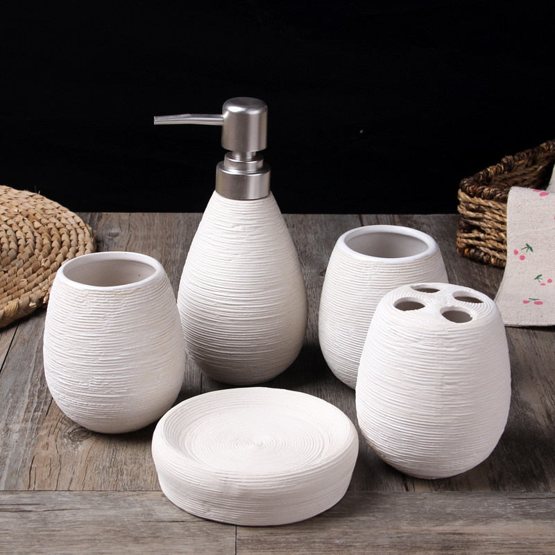 5 Piece Wheat Straw pattern White Ceramic Bathroom Set Gift sets creative home Japan Bath Home accessories home bath products accessories
