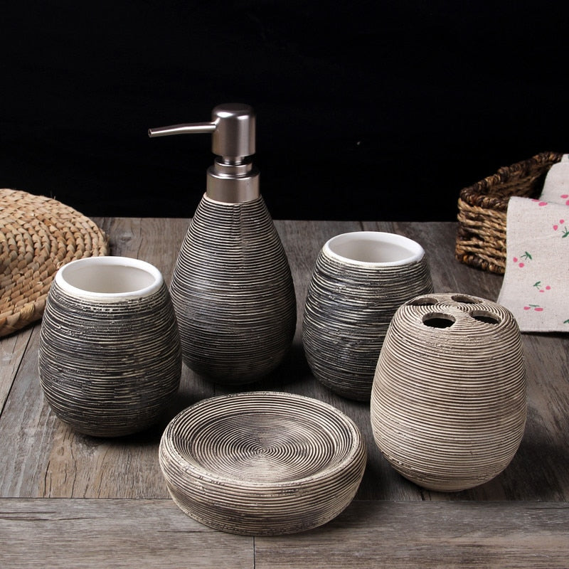 5 Piece Wheat Straw pattern Gray / Grey Ceramic Bathroom Set Gift sets creative home Japan Bath Home accessories home bath products accessories