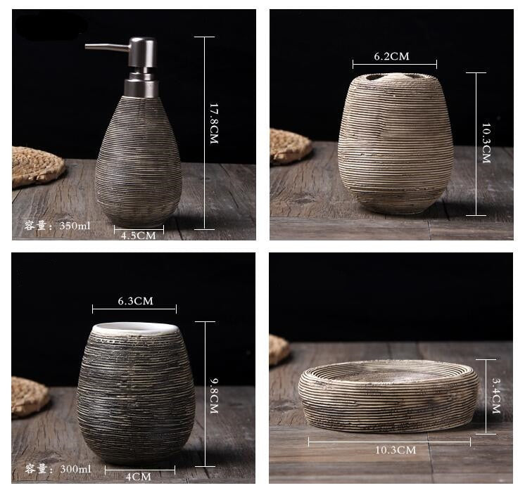 5 Piece Wheat Straw pattern Ceramic Bathroom Set Gift sets creative home Japan Bath Home accessories home bath products accessories Information