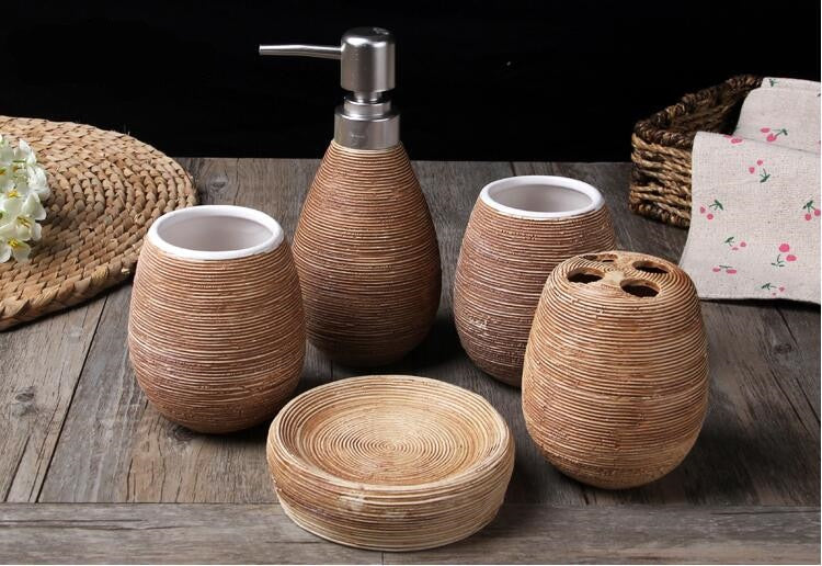 5 Piece Wheat Straw pattern Bathroom Set