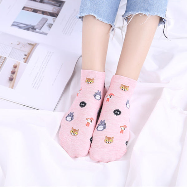 Japanese Womans Pink Cotton Cartoon Spirited Away No Face Ghibli Miyazaki Anime Womens Ankle Socks Japan