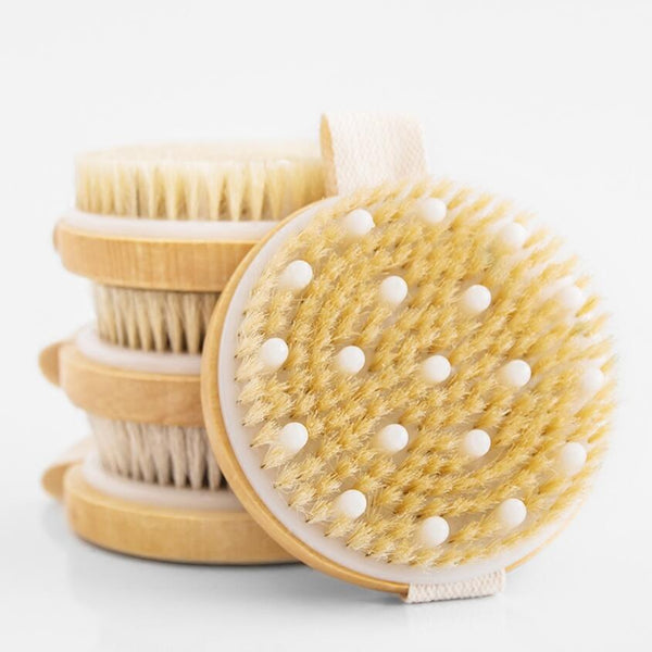 Body Massage Bath Brushes Wooden bristle bath brush Body Scrub Skin Massage Shower Body Round Head Dutch Wood Bath Brushes Bathroom Accessories