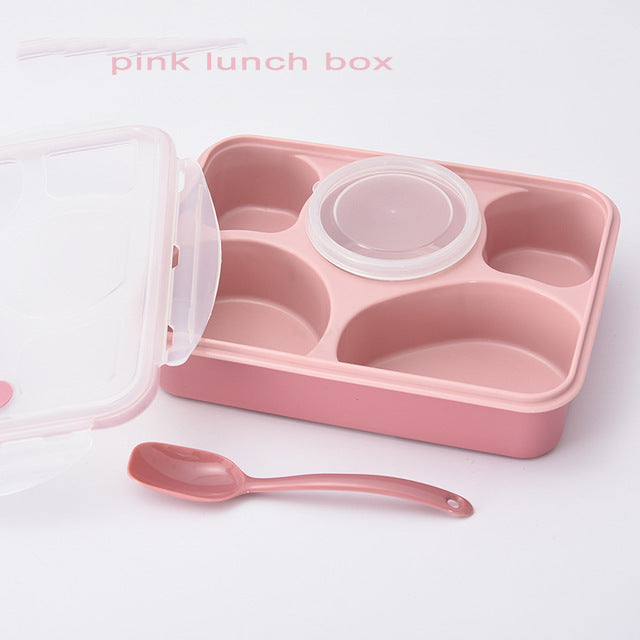 5 Compartment Microwave Bento Lunch Boxes Pink Bento Box Style E