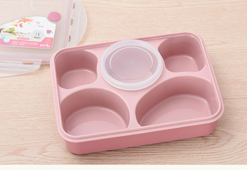 5 Compartment Microwave Bento Lunch Boxes Pink Bento Box Style J