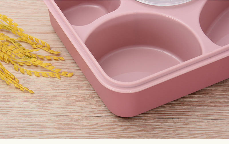5 Compartment Microwave Bento Lunch Boxes Pink Bento Box Style K