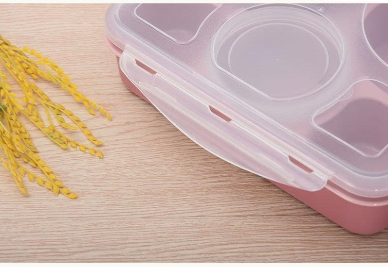 5 Compartment Microwave Bento Lunch Boxes Pink Bento Box Style A