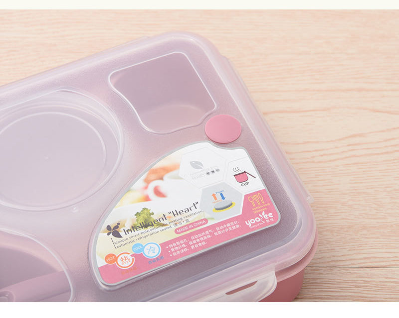 5 Compartment Microwave Bento Lunch Boxes Pink Bento Box Style M