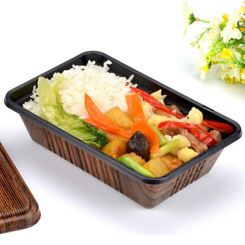 300 Piece Japanese Microwave Brown Wood Grain Bento Boxes Party Catering Event Lunch Box Japan