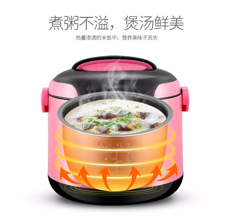 Multifunctional Pink 2L Mini Rice Cooker Smart Soup Maker Fried Pan Steamer Yoice Home Kitchen Electrical Appliance Style D