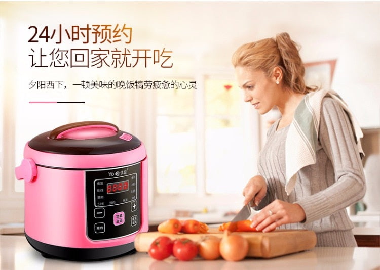 Multifunctional Pink 2L Mini Rice Cooker Smart Soup Maker Fried Pan Steamer Yoice Home Kitchen Electrical Appliance Style C