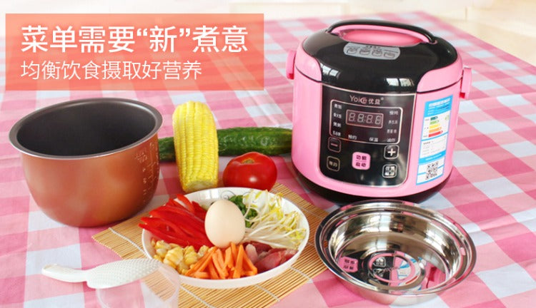 Multifunctional Pink 2L Mini Rice Cooker Smart Soup Maker Fried Pan Steamer Yoice Home Kitchen Electrical Appliance Style F