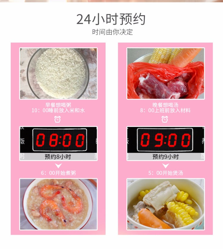 Multifunctional Pink 2L Mini Rice Cooker Smart Soup Maker Fried Pan Steamer Yoice Home Kitchen Electrical Appliance Style M