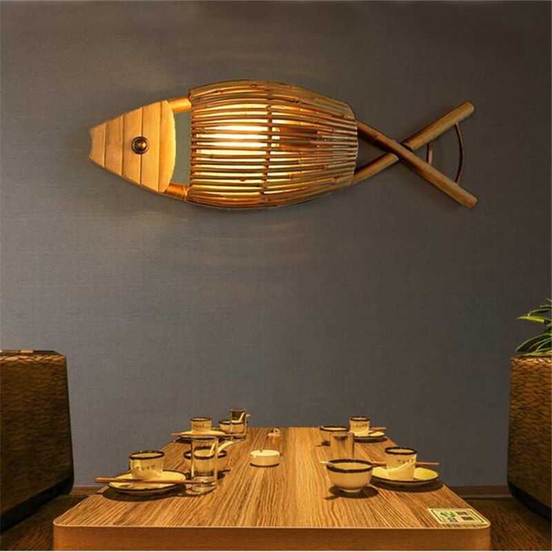 Japanese Country Style Handmade Creative Bamboo Fish Led Wall Lamp for Dining Room Restaurant Bar Aisle Japan Home Decor Lighting Fixtures Accessories