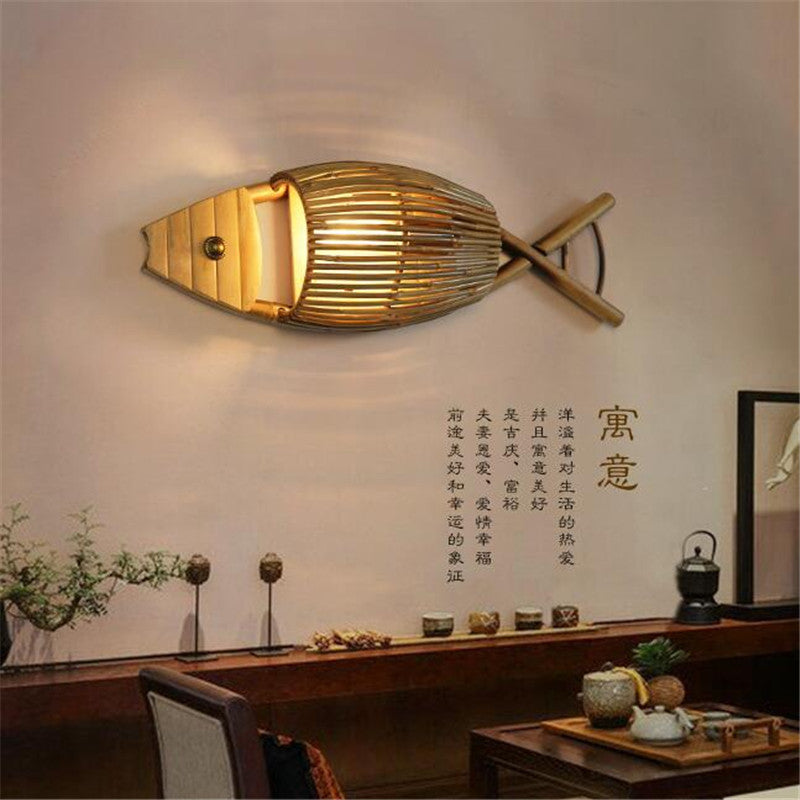 Trend Japanese Country Style Handmade Creative Bamboo Fish Led Wall Lamp for Dining Room Restaurant Bar Aisle Japan Home Decor Lighting Fixtures Accessories