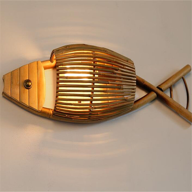 Trending Japanese Country Style Handmade Creative Bamboo Fish Led Wall Lamp for Dining Room Restaurant Bar Aisle Japan Home Decor Lighting Fixtures Accessories