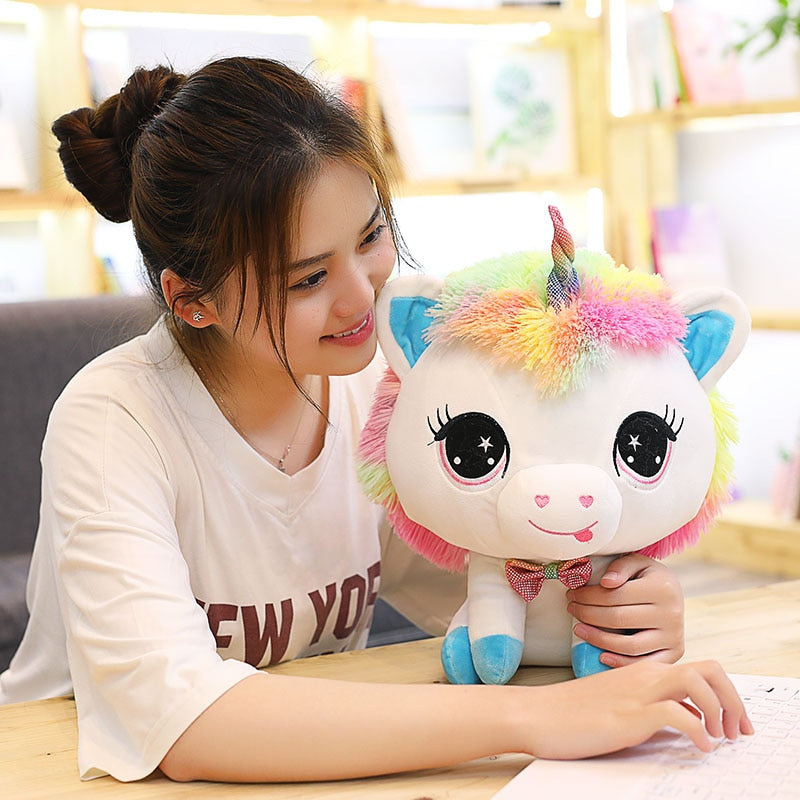 Trend 1 Piece 35cm Lovely Unicorn Plush Doll Toy Soft Stuffed Cartoon Anime Unicorn Dolls Cute Animal Horse Toys for Children Girls Birthday Gift