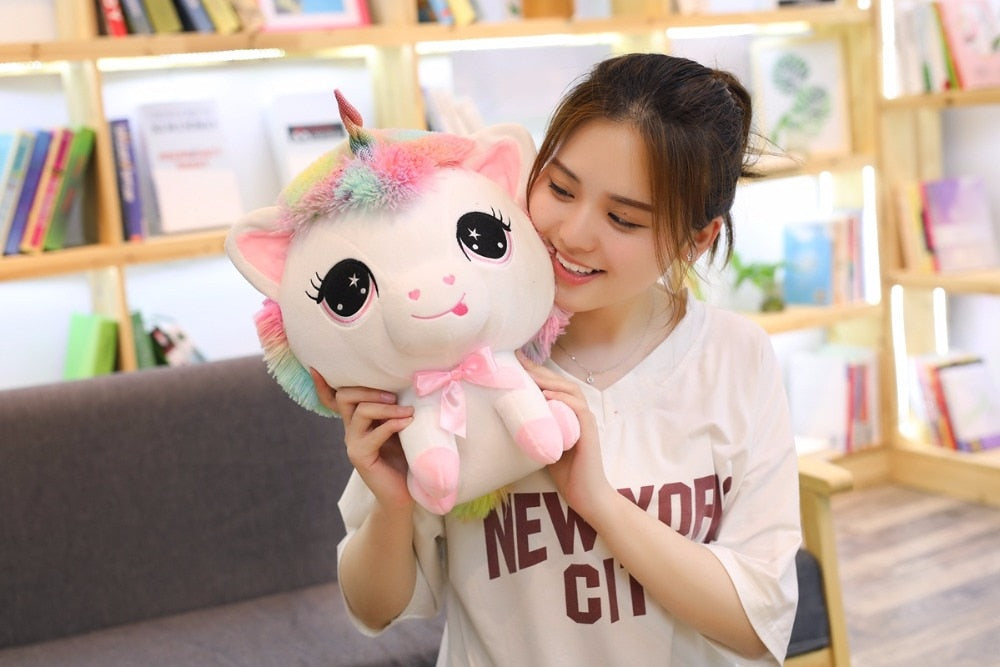 1 Piece 35cm Lovely Unicorn Plush Doll Toy Soft Stuffed Cartoon Anime Unicorn Dolls Cute Animal Horse Toys for Children Adult Birthday Gift Bedroom Companion