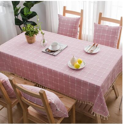 Japanese Pink Plaid Lattice Cotton Linen Tablecloth Japan Dining Room Tableware Home Decor Accessories Style Design P