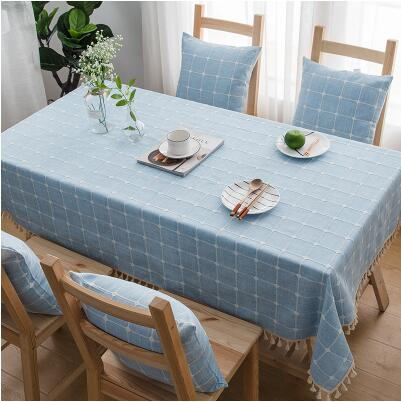Japanese Blue Plaid Lattice Cotton Linen Tablecloth Japan Dining Room Tableware Home Decor Accessories Style Design M