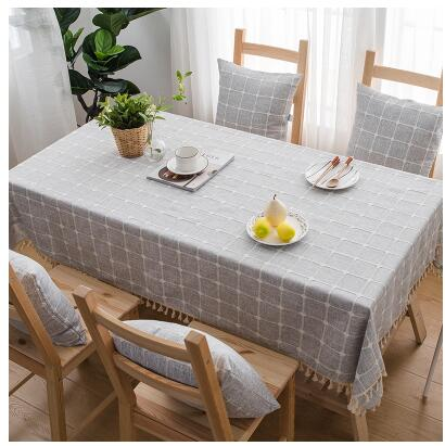 Japanese Gray Plaid Lattice Cotton Linen Tablecloth Japan Grey Dining Room Tableware Home Decor Accessories Style Design K